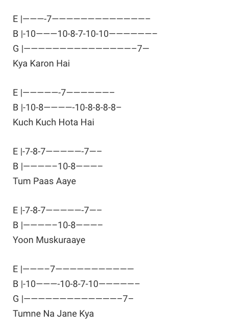 Tum Paas Aaye Tabs / Kuch Kuch Hota Hai / Guitar Tabs / Tum Paas Aaye Lead Notes / Hindi Songs Tabs /Udit Narayan and Alka Yagnik / Kuch Kuch Hota Hai Love Song Bollywood / Kuch Kuch Hota Hai Movie / Gaane / Guitar Songs