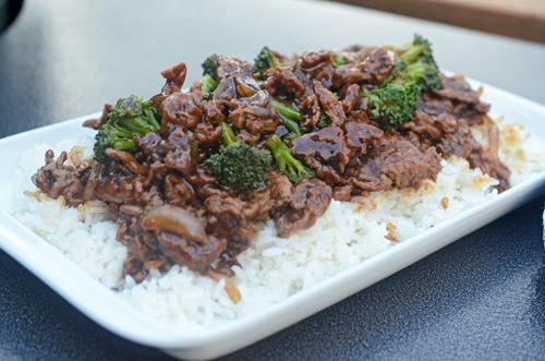 Beef and broccoli on the Big Green Egg kamado grill