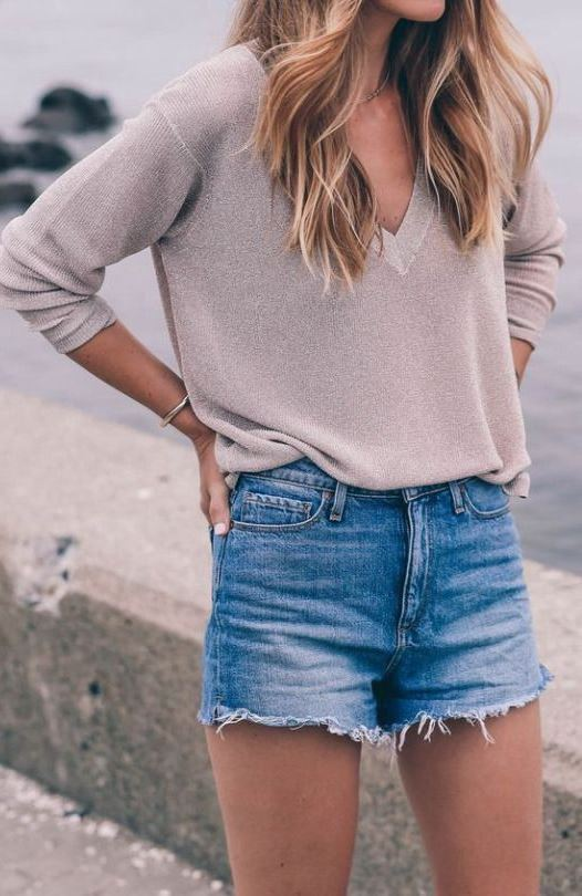 ootd | blush top and denim shorts