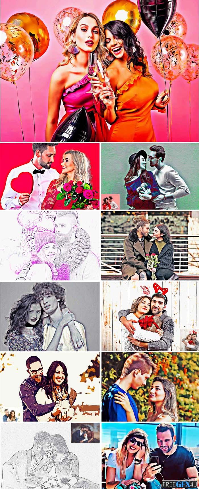 Couple Oil Portrait Photoshop Action