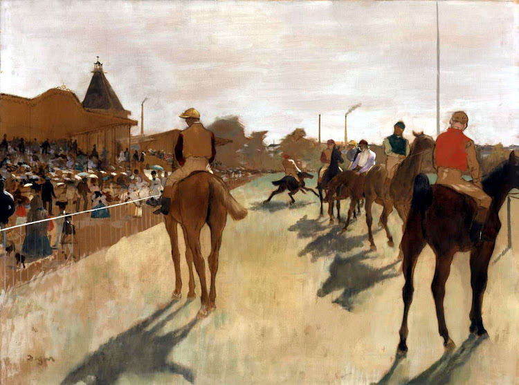Edgar Degas - Chevaux de course devant les stands