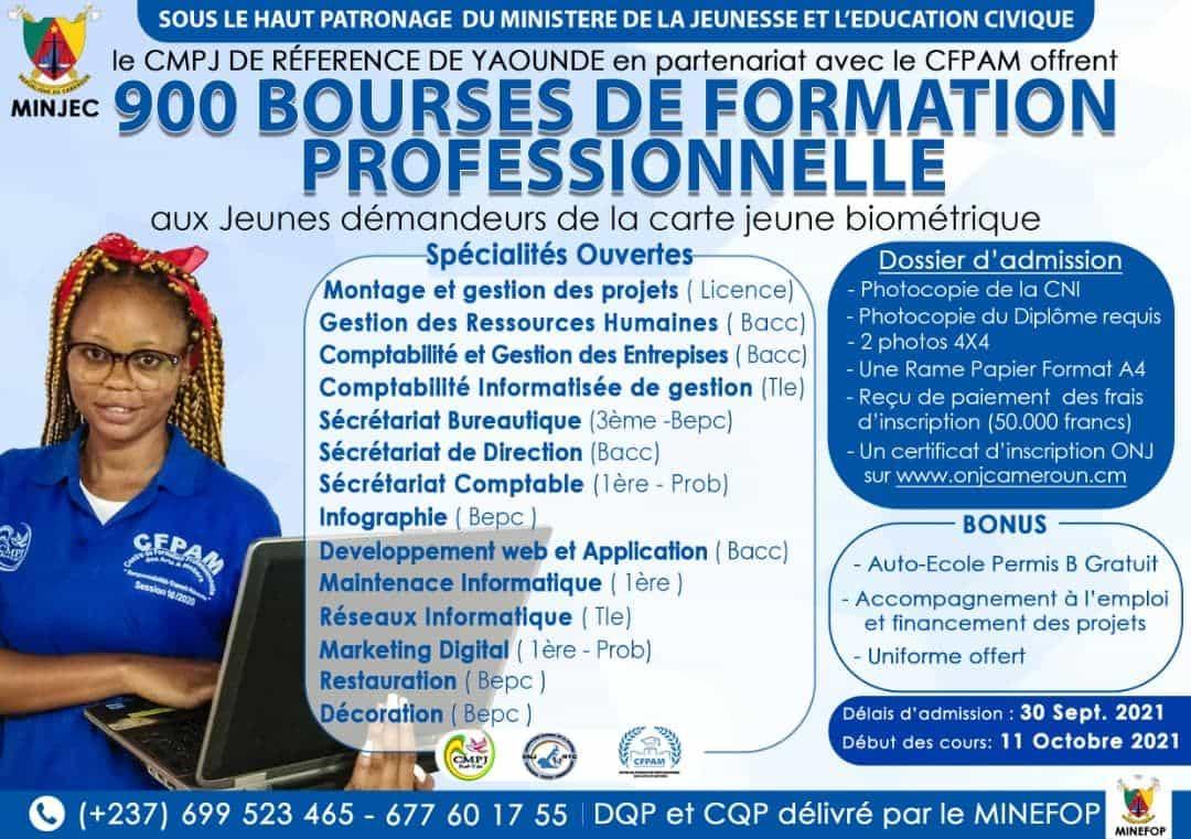 MINJEC: 900 Bourses de formation professionnelles CFPAM/CMPJ pour les jeunes inscrits à l'ONJ - Session 2021