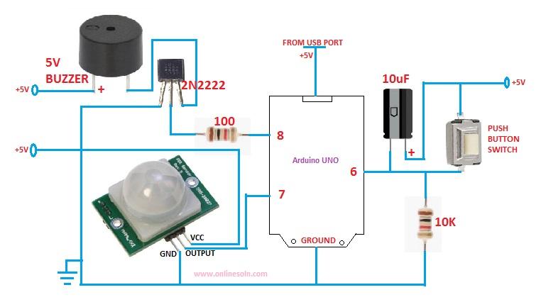 A Burglar Alarm Using Arduino And Pir Sensor