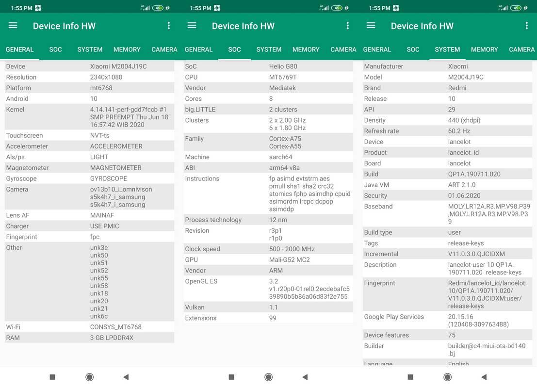 Device Info HW Xiaomi Redmi 9