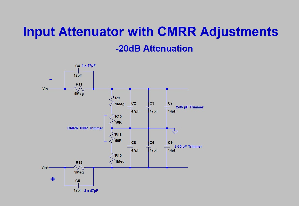Pauls Diy Electronics Blog Differential Amplifier Probe Make Operational Schematic Both The 12pf Capacitors Can Be Constructed By Putting 4 X 47pf In Series This Will Even Out Tolerances And Create A Spark Gap
