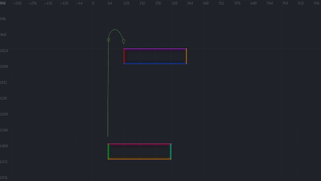 A screenshot showing the final edge we're calculating, and the nearby surfaces we're navigating around.