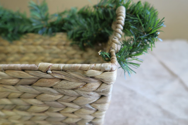 Basket with pine garland