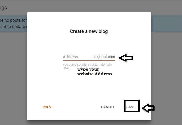 Type Domain address in blogger