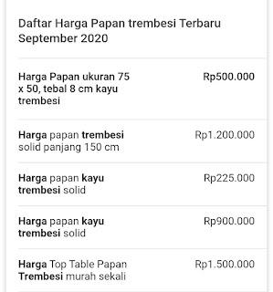 Daftar list harga kayu trembesi