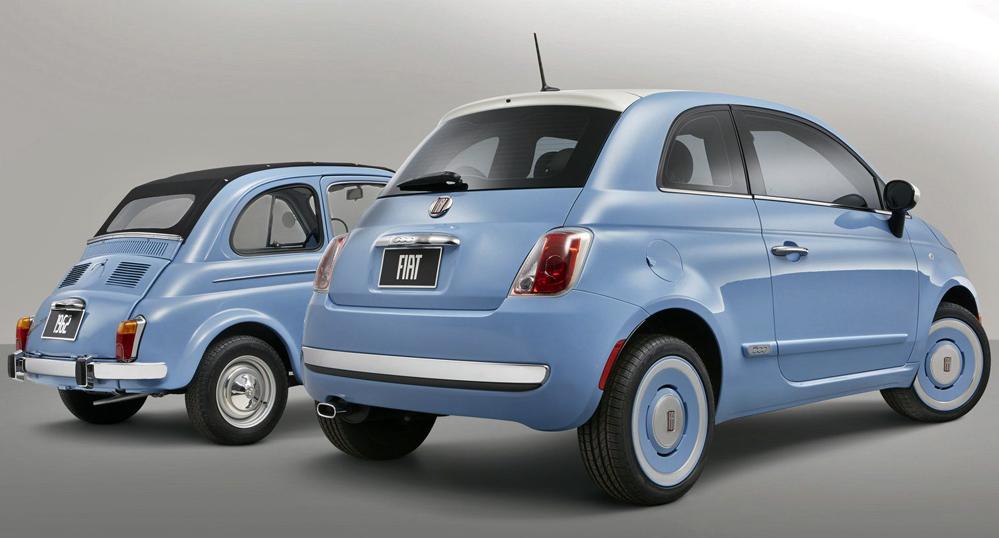 Original version of Fiat 500 with 2014 version.