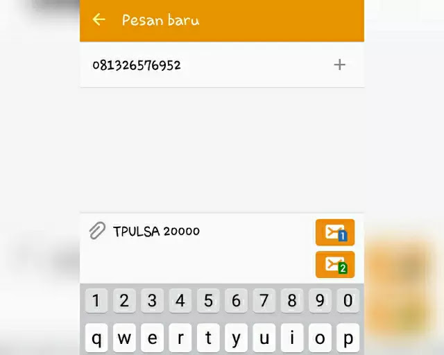 Transfer pulsa melalui Layanan SMS