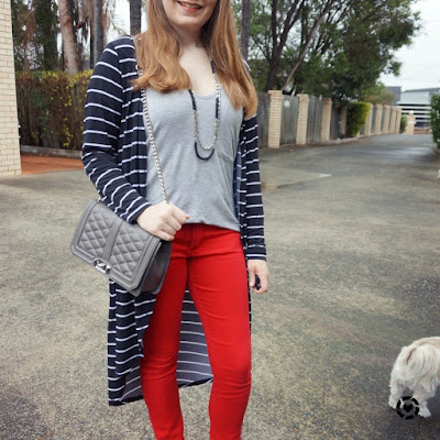 awayfromblue instagram SAHM style printed layers colourful red skinny jeans grey v-neck tee