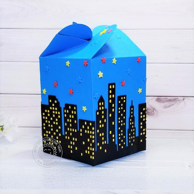 Sunny Studio Stamps: Super Duper Cityscape Border Dies Comic Strip Speech Bubble Dies Wrap Around Box Dies Super Hero Themed Gift Boxes by Ana Anderson