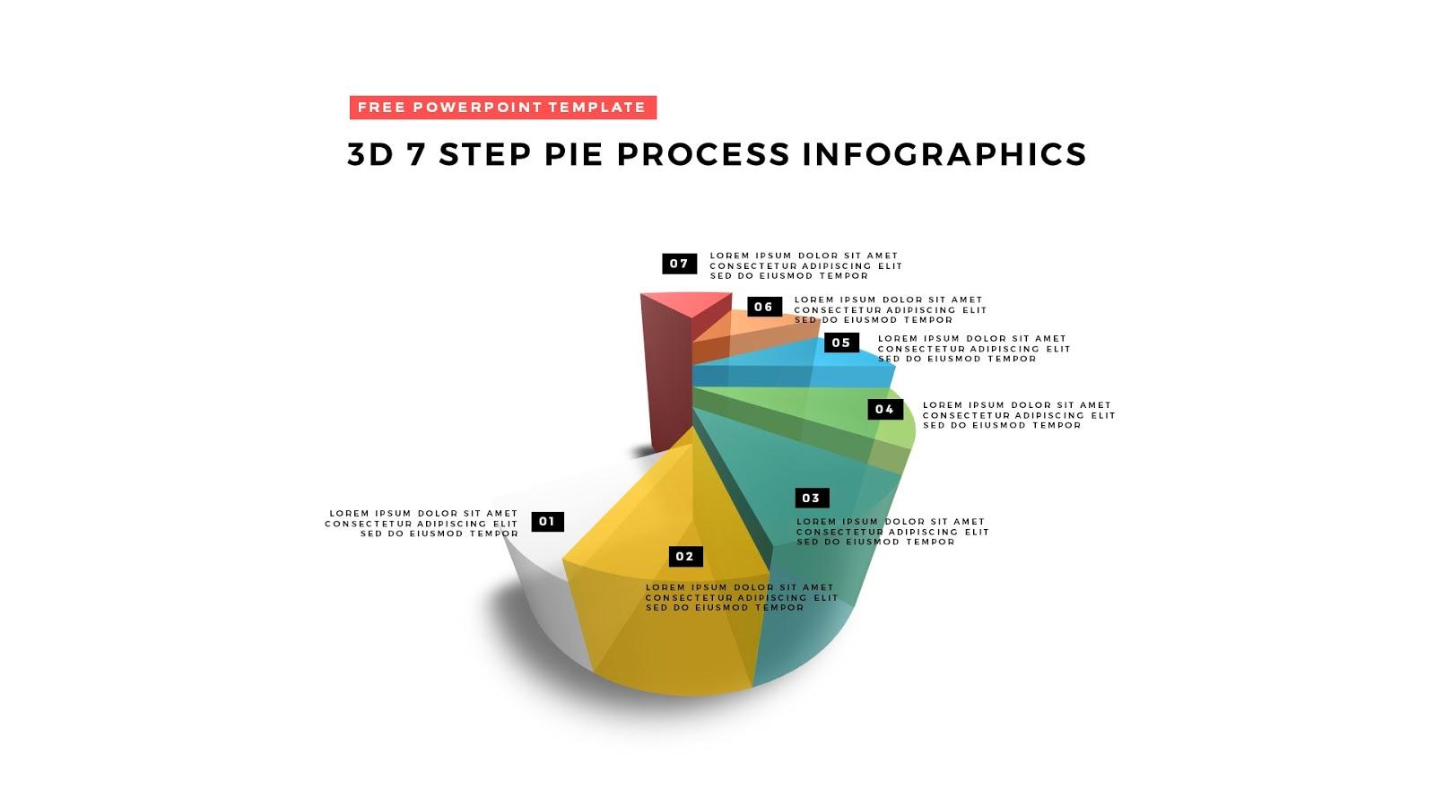 3d pie chart design elements for powerpoint templates