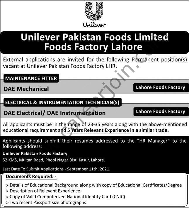 Jobs in Unilever Pakistan Foods Ltd