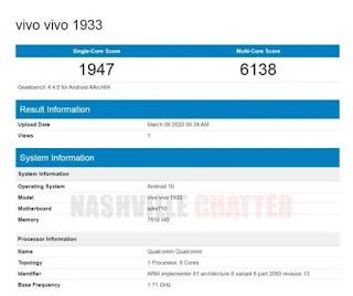 Vivo 1933 Geekbench listing muncul;  Bisa jadi Vivo Z5x untuk India