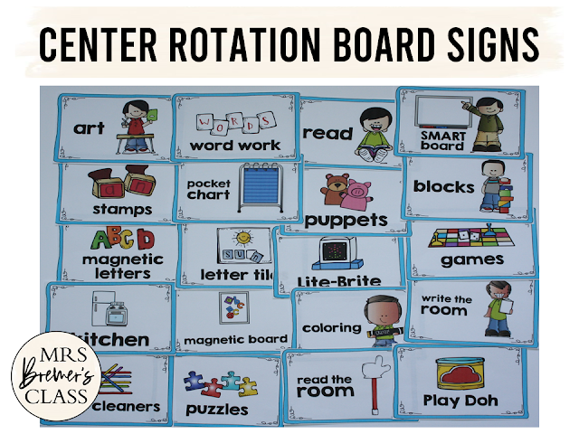 Kindergarten center rotation tips and signs for center rotation board for K-1