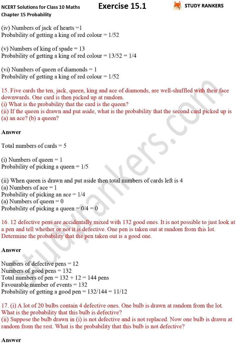 NCERT Solutions for Class 10 Maths Chapter 15 Probability Exercise 15.1 Part 6