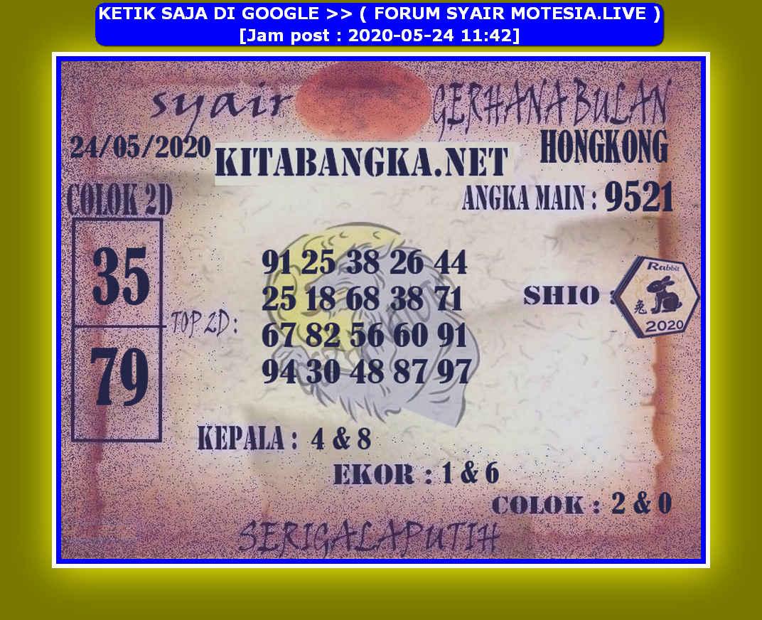 Kode syair Hongkong Minggu 24 Mei 2020 190