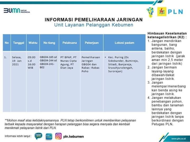 Jadwal Pemadaman Listrik di Kebumen Hari ini Selasa 19 Januari 2021