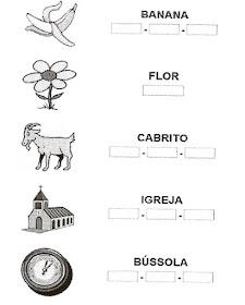 Atividade separe as sílabas - Alfabetização.