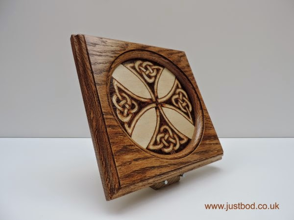 Durrow Cross hand burnt celtic knotwork design