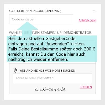 GastgeberCode im Stampin Up OnlineShop eintragen