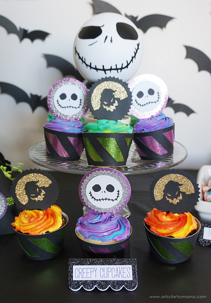 Nightmare Before Christmas Jack Skellington and Oogie Boogie Cupcake Wrappers and Toppers