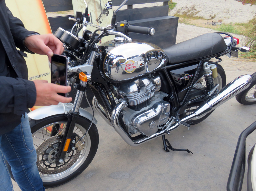 Royal Enfield 650 with chrome tank.