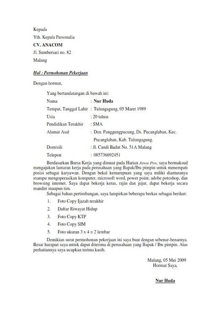 Contoh Surat Lamaran Kerja untuk Berbagai Kalangan (via: ben-jobs.blogspot.com)