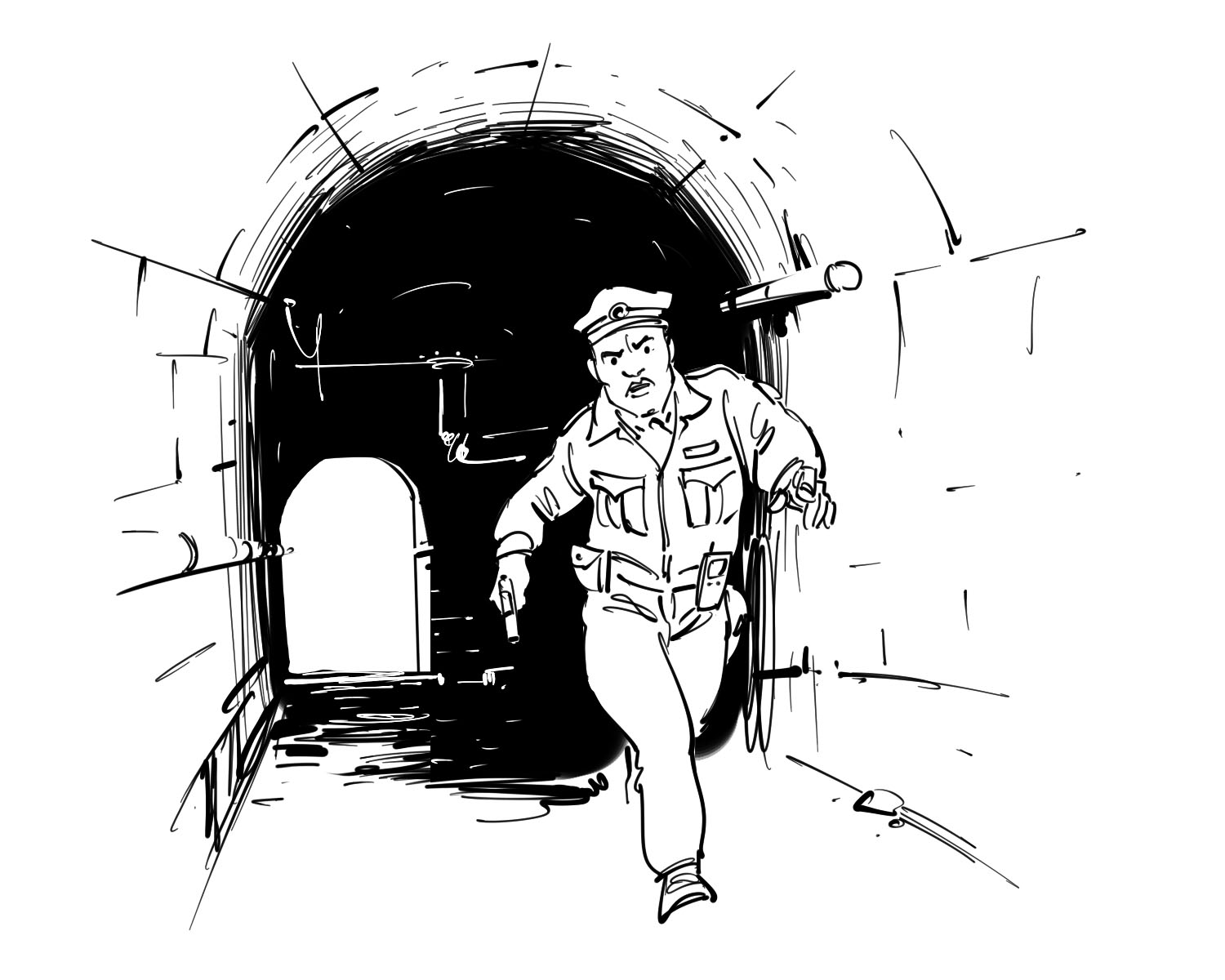 kids book illustration police running from inside tunnel