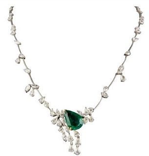 Diamond necklace with emerald available at Inaaya by Deepa & Suhail Mehra