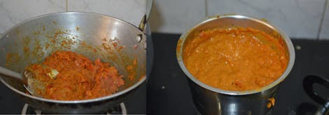 preparing onion tomato paste