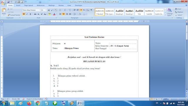 Soal Penilaian Harian Matematika Kelas 4 Bilangan Prima Kurikulum 2013 Revisi Terbaru
