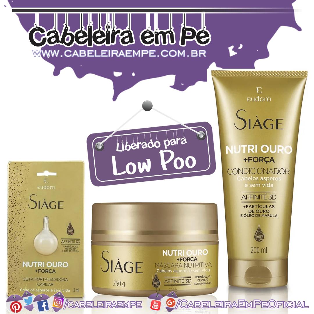 Máscara, Condicionador e Gota Fortificante Nutri Ouro - Siàge Eudora (Low Poo)
