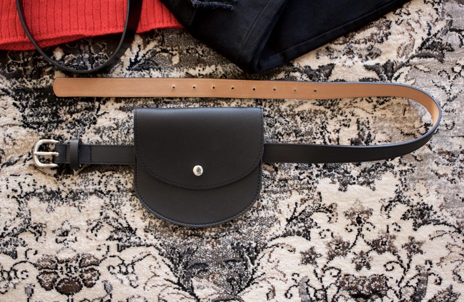 Mini Bag Decoration Faux Leather Waist Belt - Black
