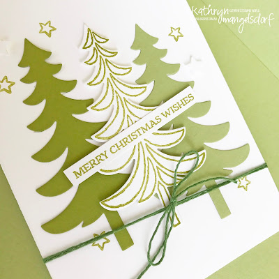 Stampin' Up Santa's Sleigh & Thinlits, Christmas Card, Christmas Trees created by Kathryn Mangelsdorf