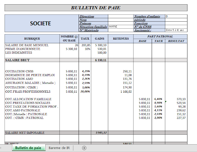 Bulletin de paie excel - méthode de calcul