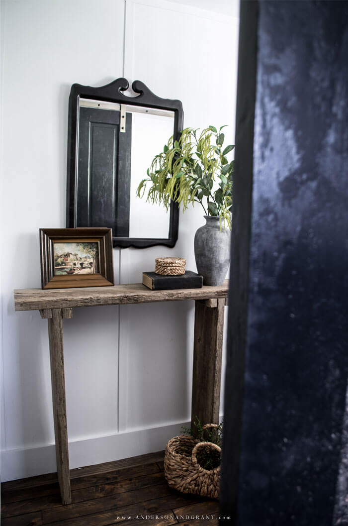 Rustic console table styled
