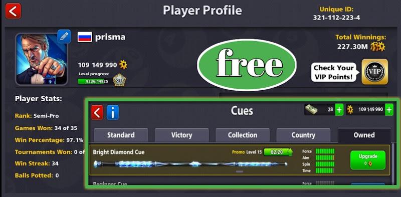 Free 8 ball pool Level max cue