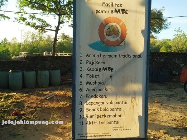 fasilitas embe beach