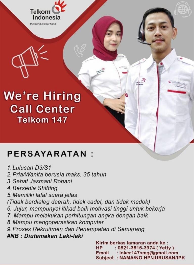 Lowongan Lowongan Kerja Call Center Telkom Semarang Februari 2021 2021