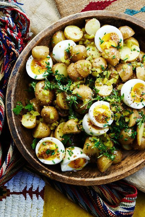 gg salad and potato salad: Unite! We like how the still-soft yolks dress the salad, but you can cook the eggs a minute or two longer if you like them more set.