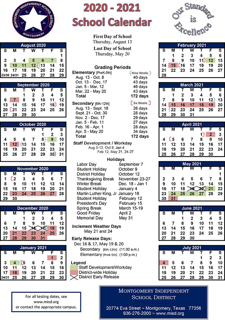 Lake Creek High School PTO: Newly Adopted MISD 2020 2021 Calendar