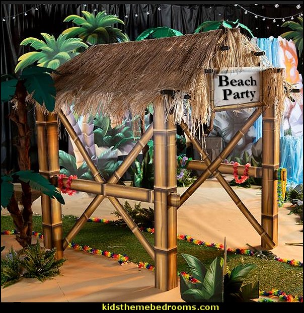 Luau Tiki Hut party prop  Tropical party decorations - tropical party ideas - ALOHA Hawaii Luau Party Decorations - Luau Hawaiian Grass Table Skirt raffia Decorations - Hula Hibiscus Tropical Birthday Summer Pool Party Supplies - tiki party pineapple party decorations - beach party - Birthday party  photo backdrop - tropical themed cake decorations - beach tiki themed table decorations -  party props - summer party