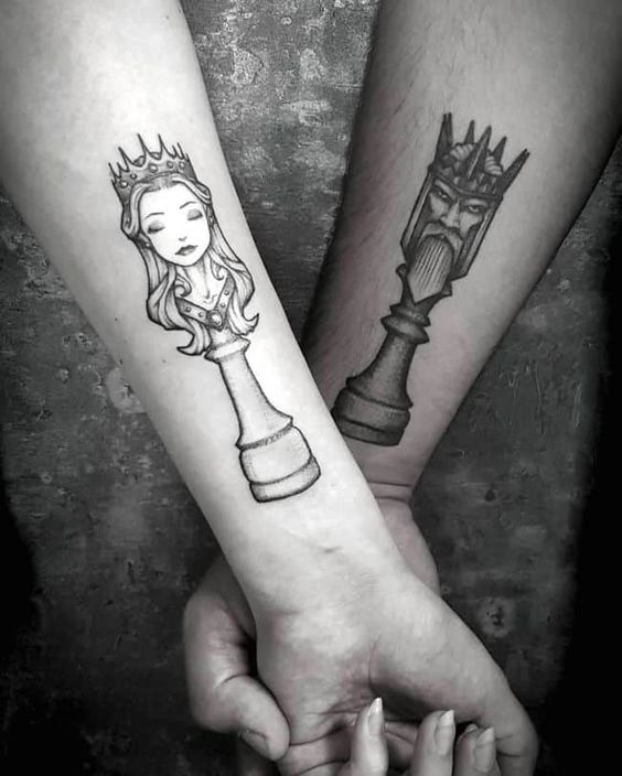 Chess Queen King Couple Tattoo