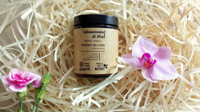 naturalny balsam do ciała, kosmetyki bez chemii, laboratorio di olio, morelowo-malinowy krem do ciała, kosmetyki naturalne, balsam regenerujący, balsam nawilżający