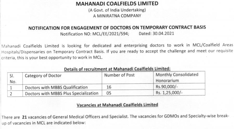 Mahanadi Coalfields Limited | GDMO & Specialist – 21 Posts | Last date 15-05-2021