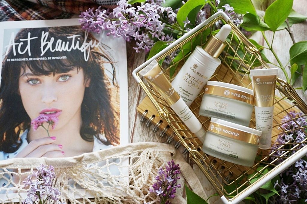 Yves Rocher Anti-Aging Global kuracja przeciwzmarszczkowa roślinne wegańskie naturalne kosmetyki twarz