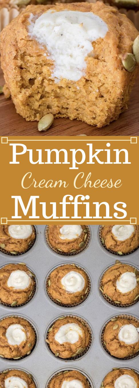 PUMPKIN CREAM CHEESE MUFFINS #desserts #muffins #cheese #pumpkin #cakes